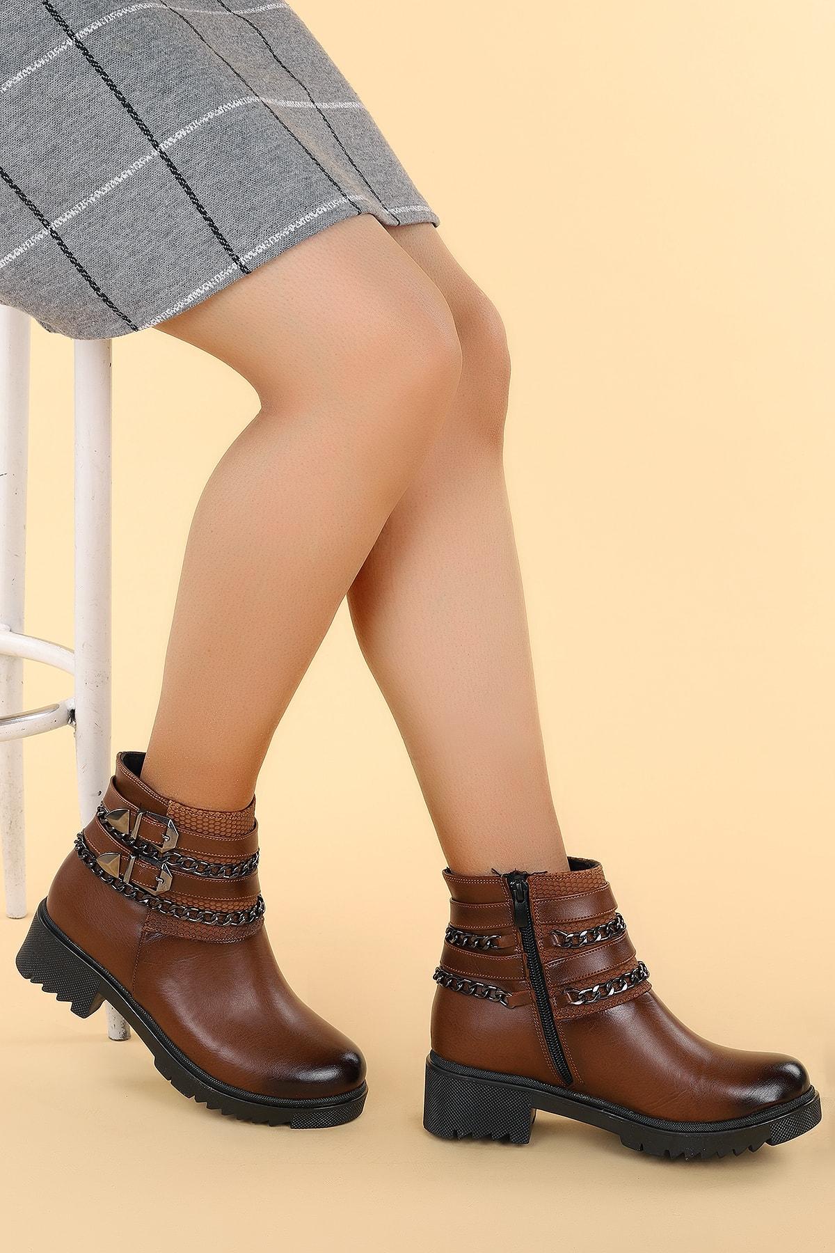 Ayakland Kadın Kahverengi Cilt Termo Taban Bot N1983-5005 2