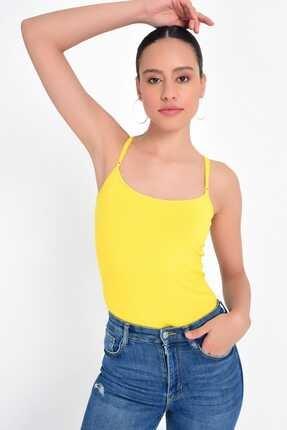 Hanna's by Hanna Darsa Kadın Sarı İp Askılı Basic Atlet