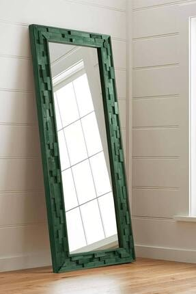 bluecape Doğal Ağaç  Jenga Yeşil Tahta Parçacıklı Salon Ofis Mutfak Duvar Konsol Boy Aynası 58x148 Cm