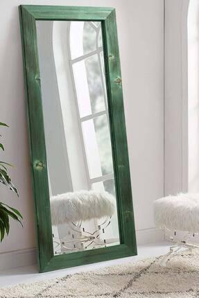 bluecape Doğal Ağaç Dikdörtgen Yeşil Salon Ofis Mutfak Çocuk Odası Duvar Konsol Boy Aynası 58x148 Cm
