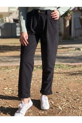 Quzu Kadın Siyah Kadife Yüksek Bel Pantolon