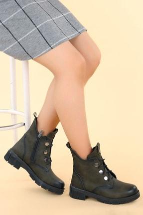 Ayakland Kadın Haki Termo Taban Fermuarlı Bot Ayakkabı