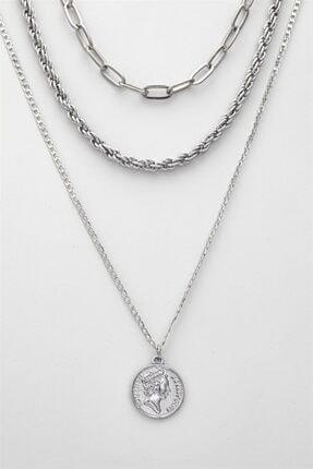 Sortie Aksesuar Kadın Gümüş Çoklu Kolye 023