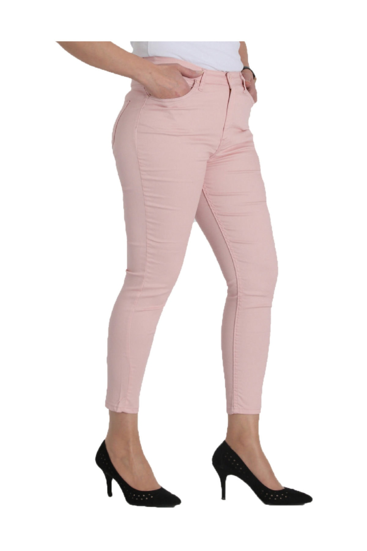 Günay Giyim Kadın Pudra Kanvas Normal Bel Dar Paça Pantolon Nvr4037 1