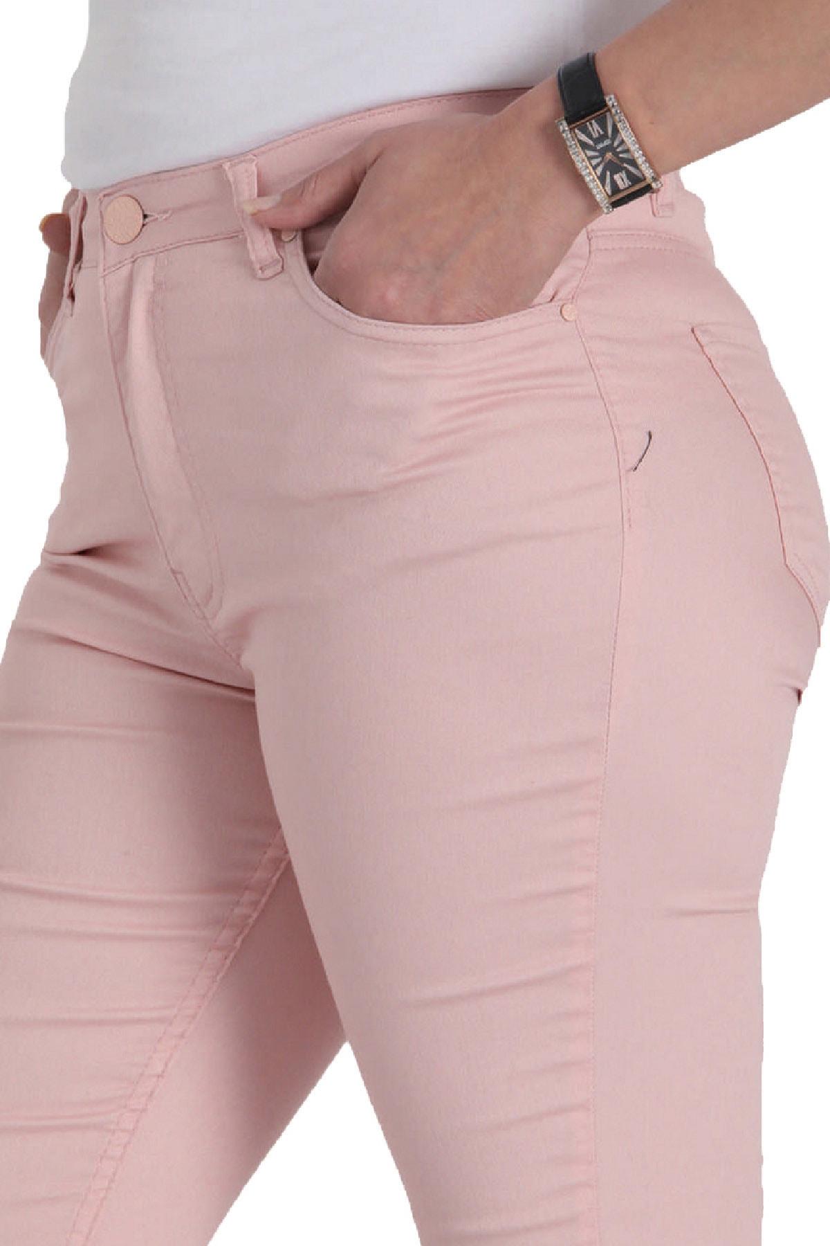 Günay Giyim Kadın Pudra Kanvas Normal Bel Dar Paça Pantolon Nvr4037 2
