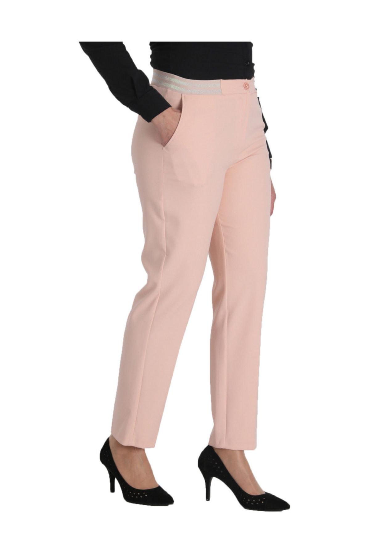 Günay Giyim Kadın Pudra Kumaş Normal Bel Düz Paça Pantolon Nvr2151 1