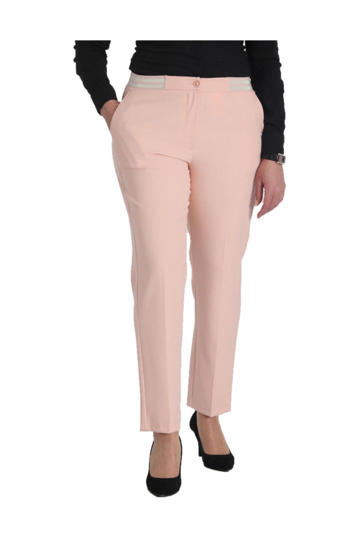 Günay Giyim Kadın Pudra Kumaş Normal Bel Düz Paça Pantolon Nvr2151 2