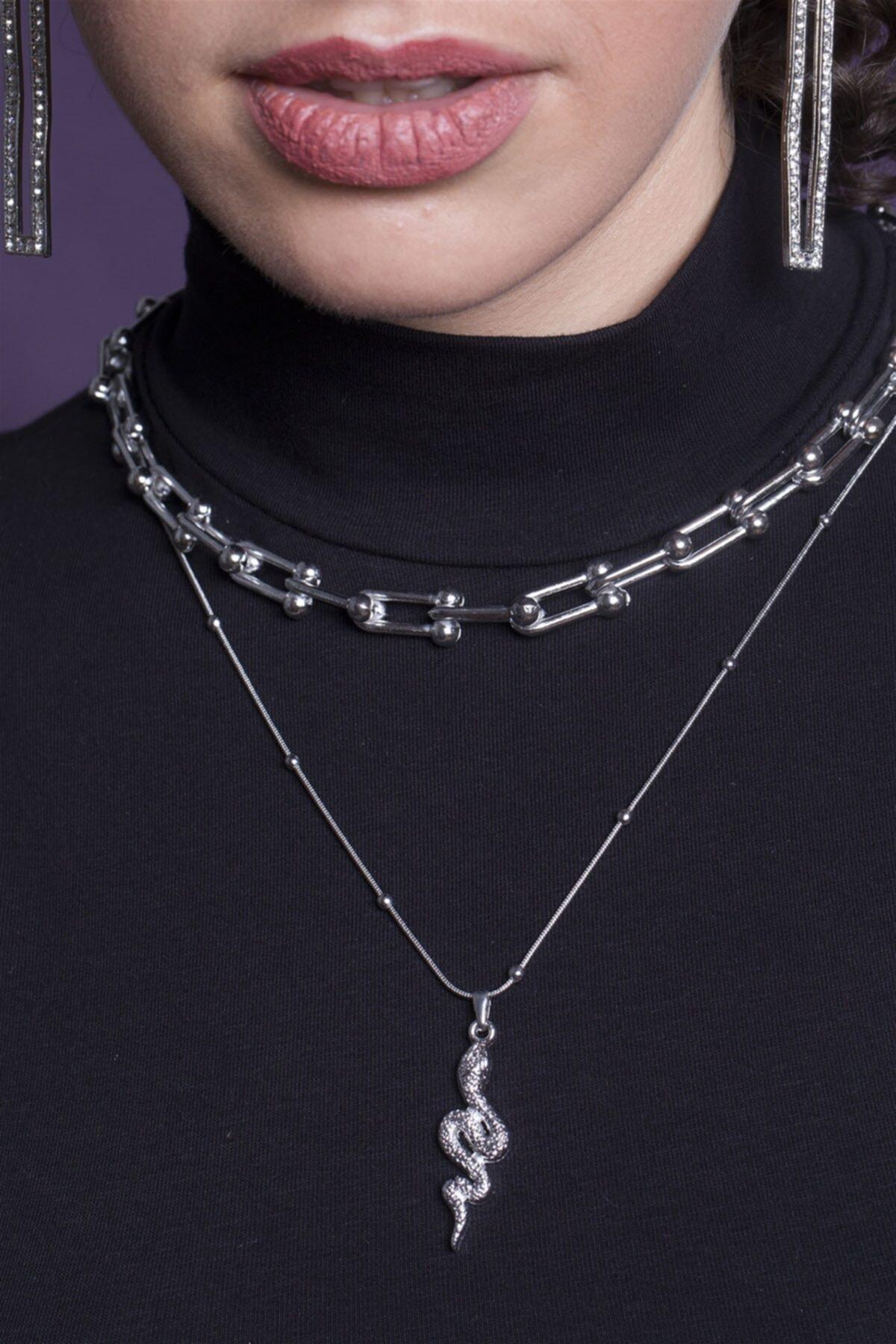 Sortie Aksesuar Kadın Gümüş Kombin Kolye 057 1