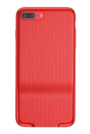 MobilCadde Baseus Audio Case Iphone 7 Plus / 8 Plus Çift Lightning Girişli Kırmızı Rubber Kılıf