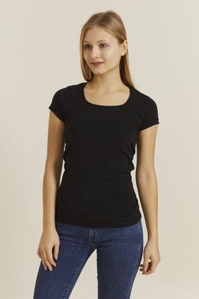 DYNAMO Kadın Siyah Kare Yaka Likralı T-shirt 19060