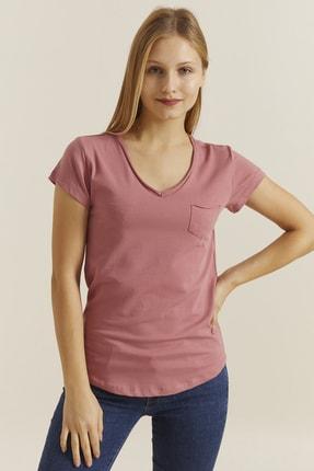 DYNAMO Kadın Soğan V Yaka Cepli T-shirt 19052