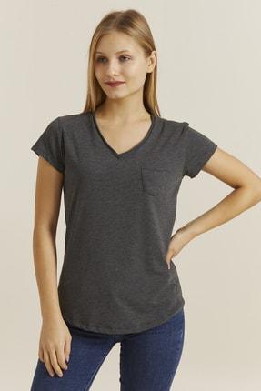 DYNAMO Kadın Antrasit V Yaka Cepli T-shirt 19052