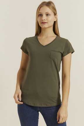 DYNAMO Kadın Haki V Yaka Cepli T-shirt 19052