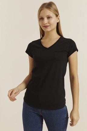 DYNAMO Kadın Siyah V Yaka Cepli T-shirt 19052