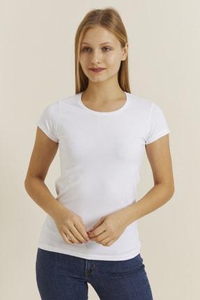 DYNAMO Kadın Beyaz Bisiklet Yaka Likralı T-shirt 19061