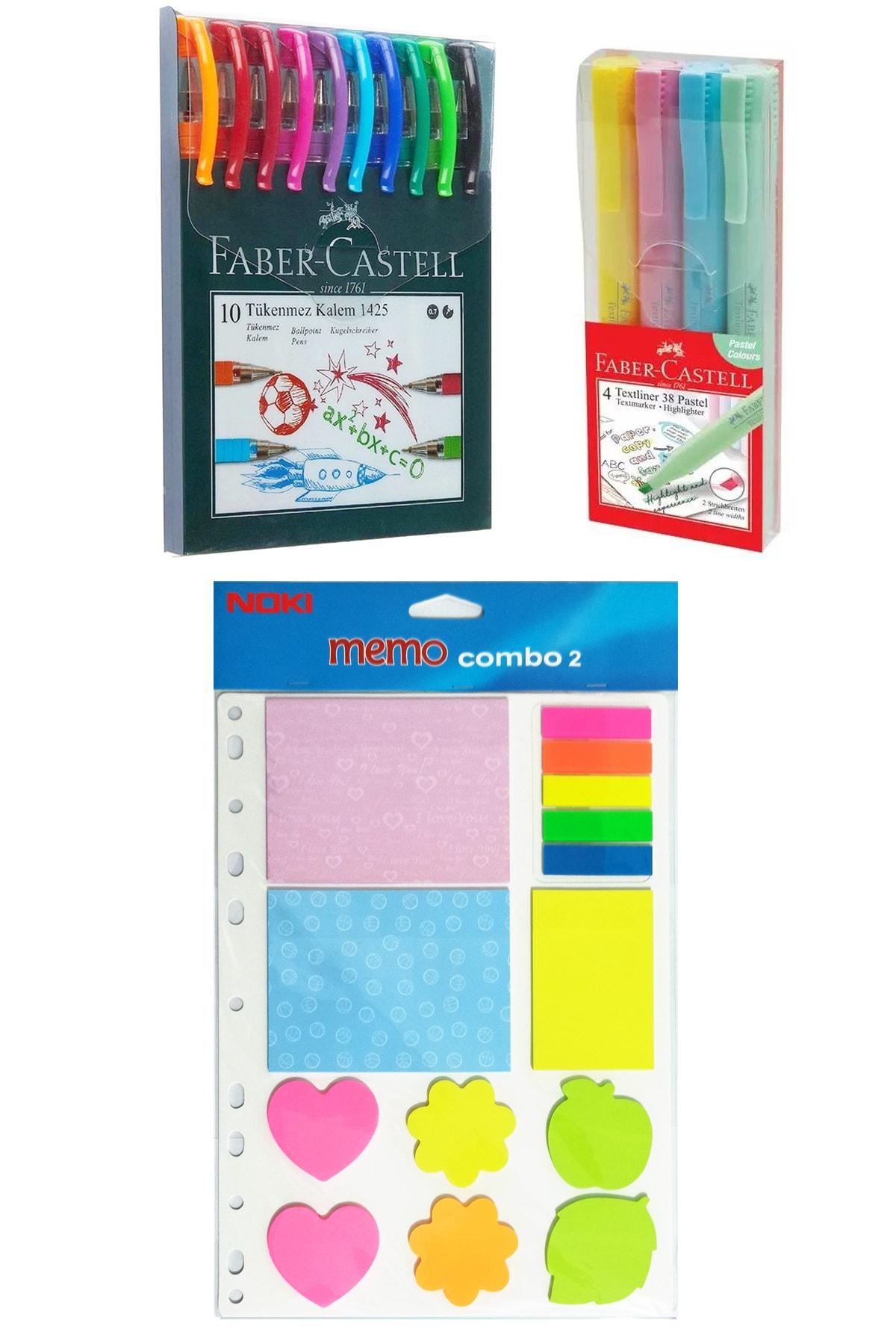 Faber Castell 10 Renk Tükenmez Kalem 1425+pastel Fosforlu Kalem 4lü+ Noki Yapışkanlı Not Kağıdı Seti 1