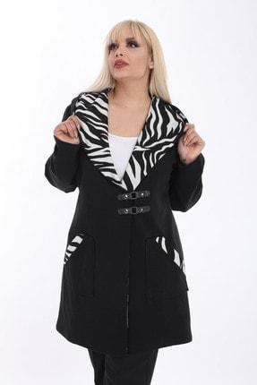 Kheos Kadın Siyah Zebra Desen Detaylı Kapüşonlu Çelik Interlok Uzun Hırka