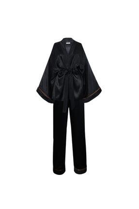 GRACE&KELLY Kadın Siyah İpek Saten Pijama Takım