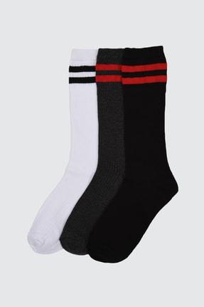 TRENDYOLMİLLA 3'lü Siyah Örme Çorap TWOAW21CO0109