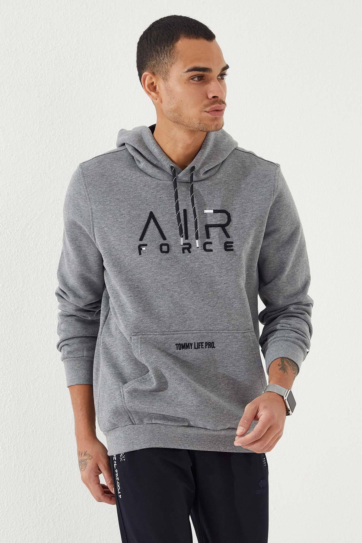 Tommy Life Erkek Gri Kapüşonlu Air Force Nakışlı  Sweatshirt 1