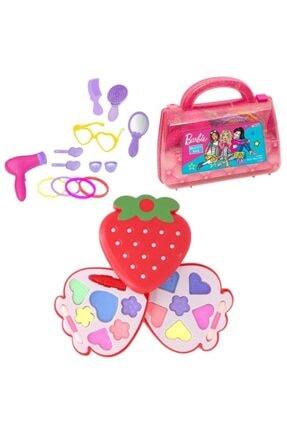 Barbie Oyuncak Güzellik Çantası + Ikili Makyaj Seti - Evcilik Oyuncak - Kız Oyuncak Depomiks