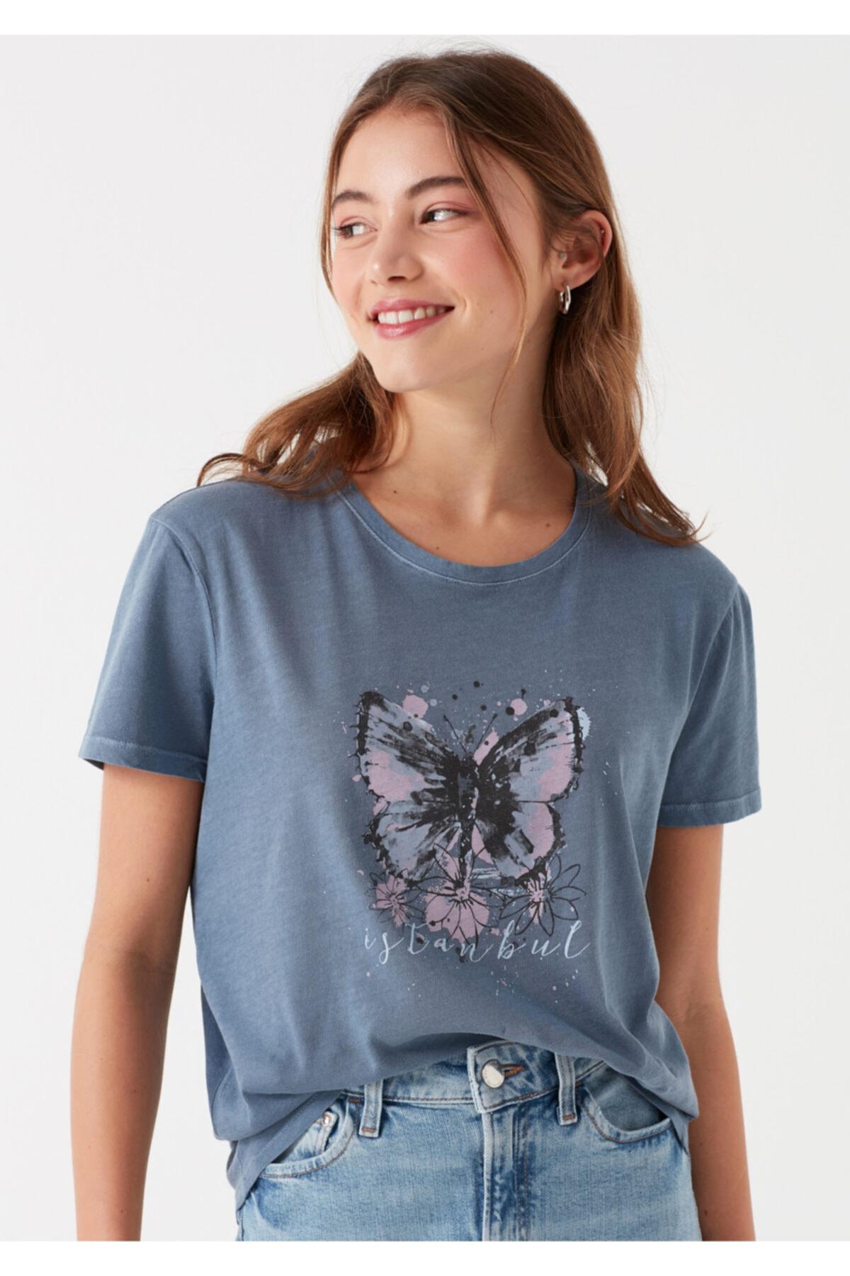 Mavi Kadın Kelebek Baskılı İstanbul T-Shirt 1