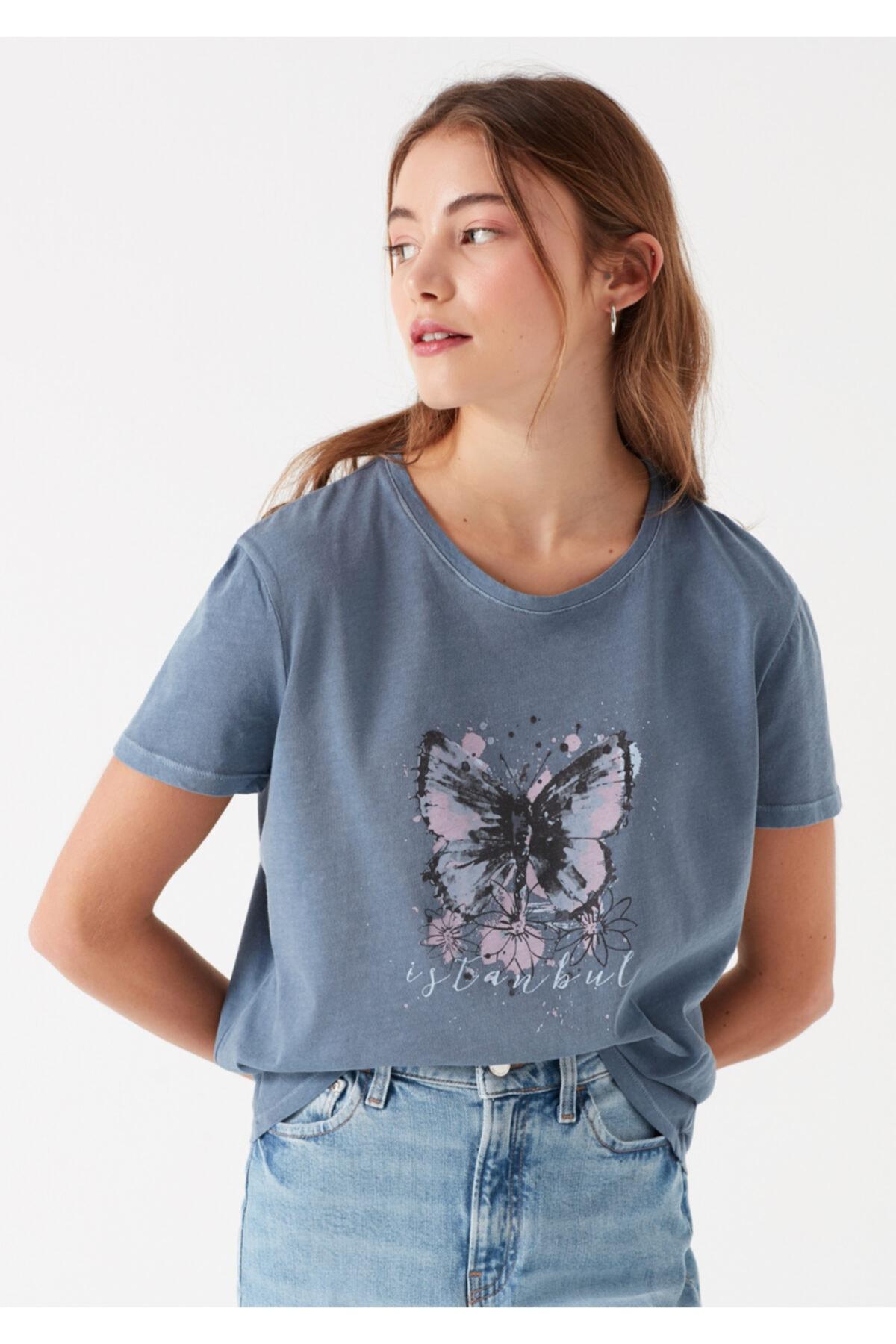 Mavi Kadın Kelebek Baskılı İstanbul T-Shirt 2