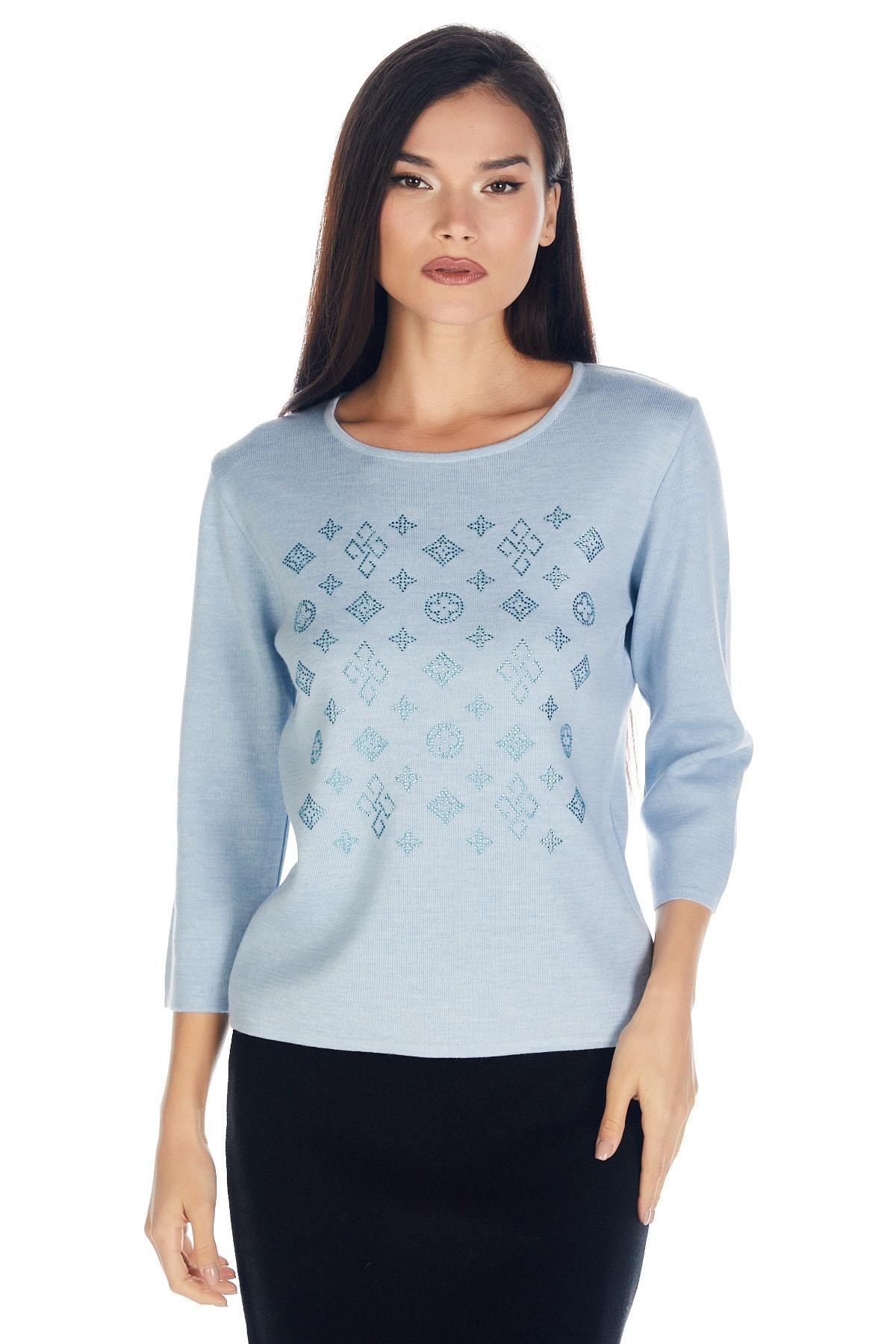 Solo Kadın Kristal Taş Baskılı Luxury Triko Bluz 1