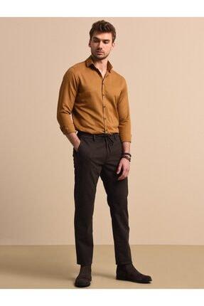 Kip Erkek Kahverengi Çizgili Dokuma Pantolon