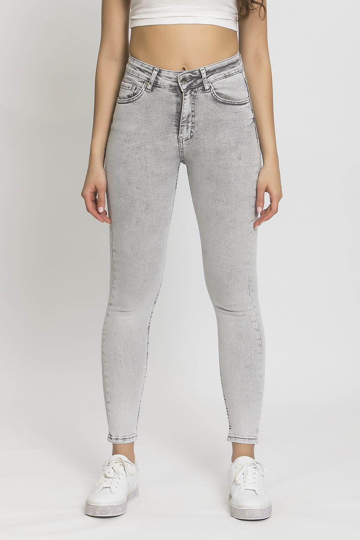 its basic Kadın Gri 5 Yüksek Bel Slim Fit Jean 1