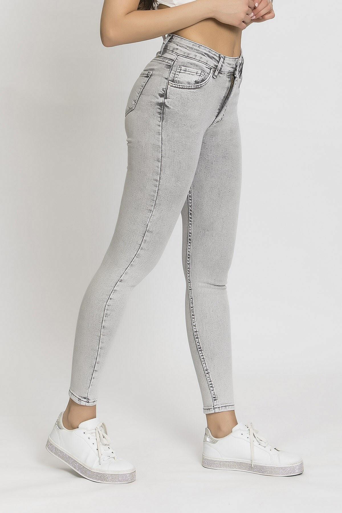its basic Kadın Gri 5 Yüksek Bel Slim Fit Jean 2