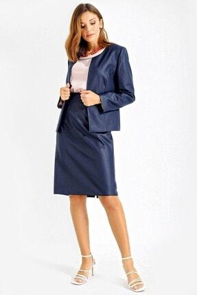 By Saygı Kadın Lacivert Etek Ceket Üçlü Krep Takım