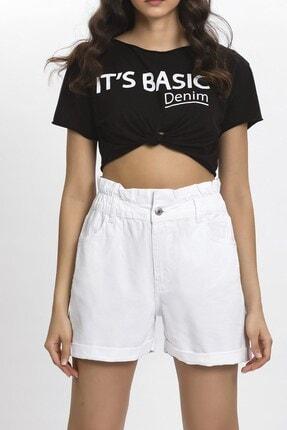 its basic Kadın Beyaz Kemeri Lastik Yüksek Bel Beyaz Renk Jean Şort