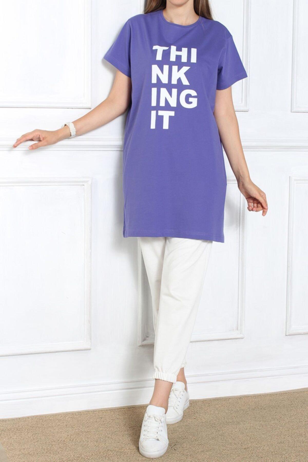 Ekrumoda Kadın Mor Kısa Kol Baskılı T-shirt 1