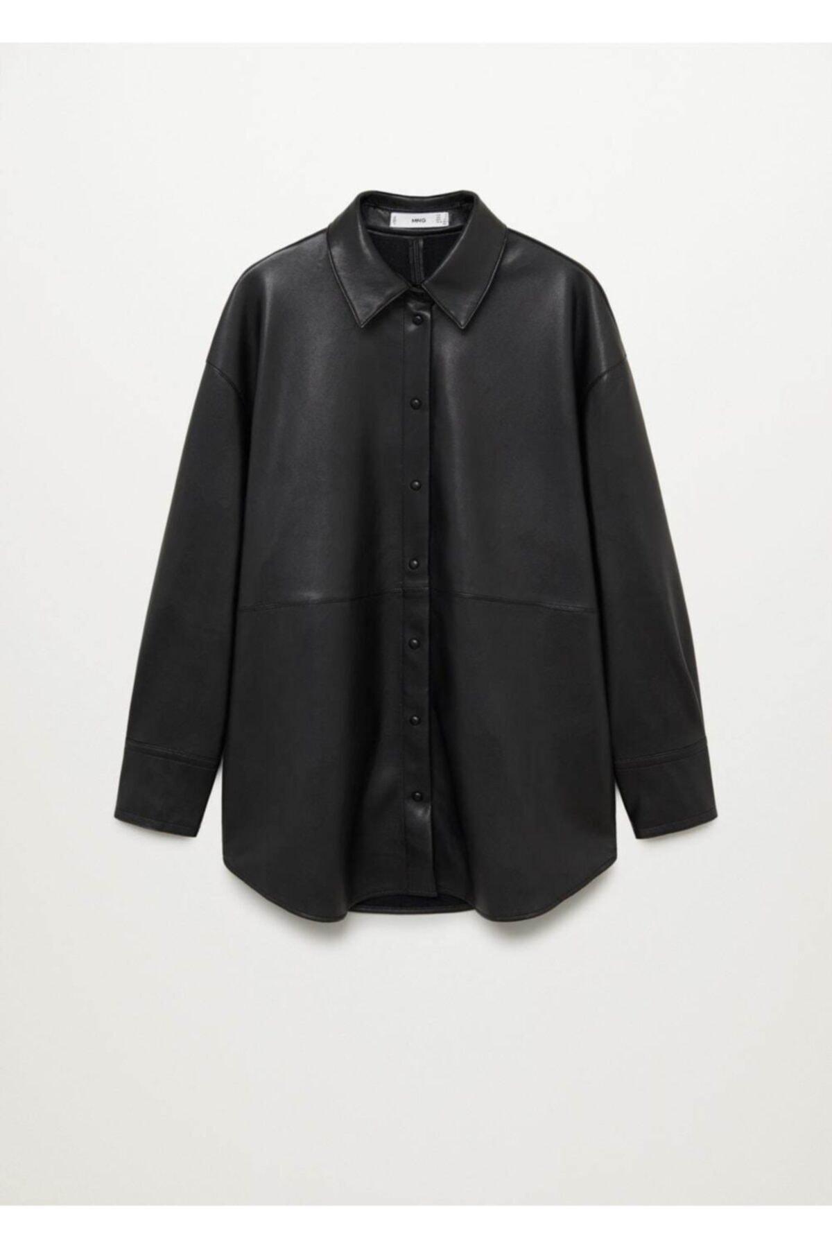 MANGO Woman Kadın Siyah Suni Deri Gömlek 1