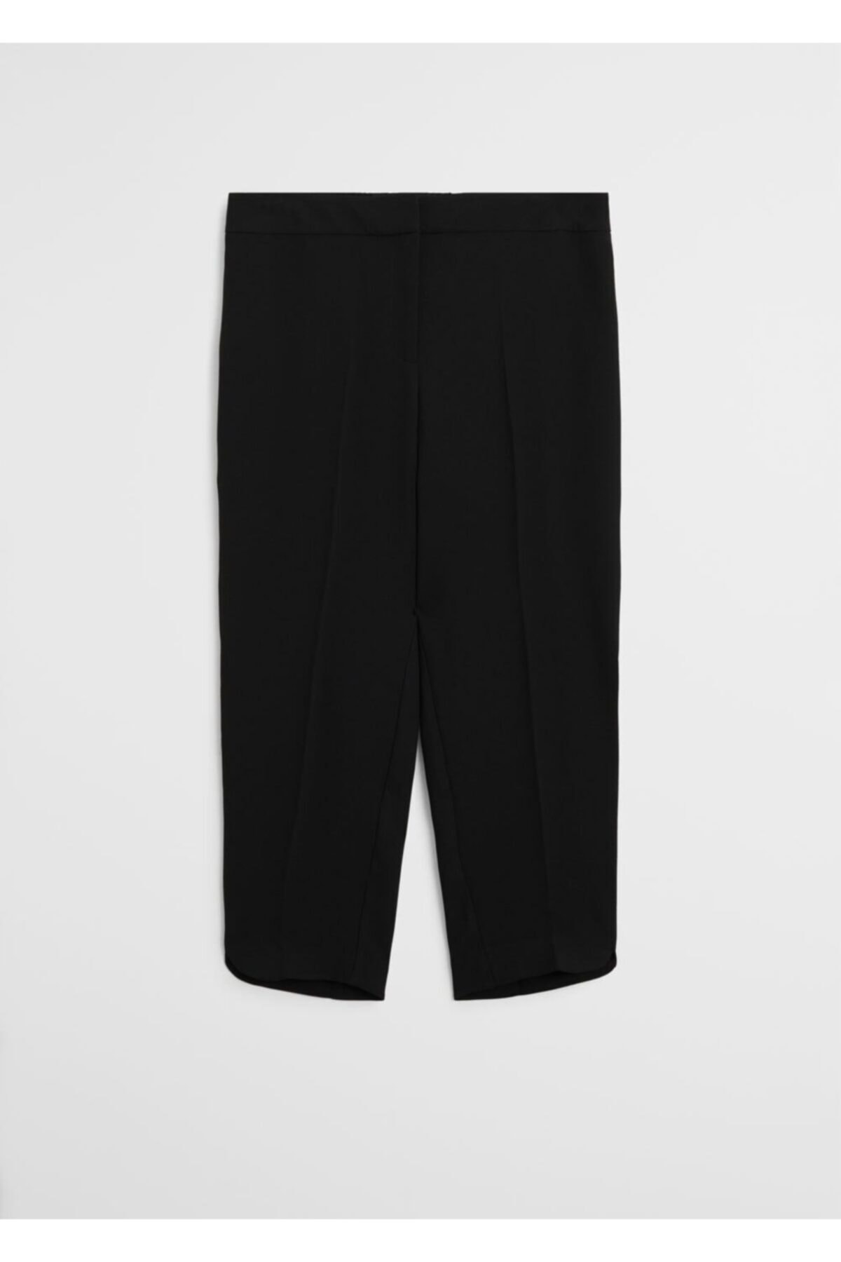 Violeta by MANGO Kadın Siyah Kısa Paçalı Dar Kesim Pantolon 1