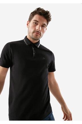 Mavi Deri Detaylı Siyah Polo Tişört