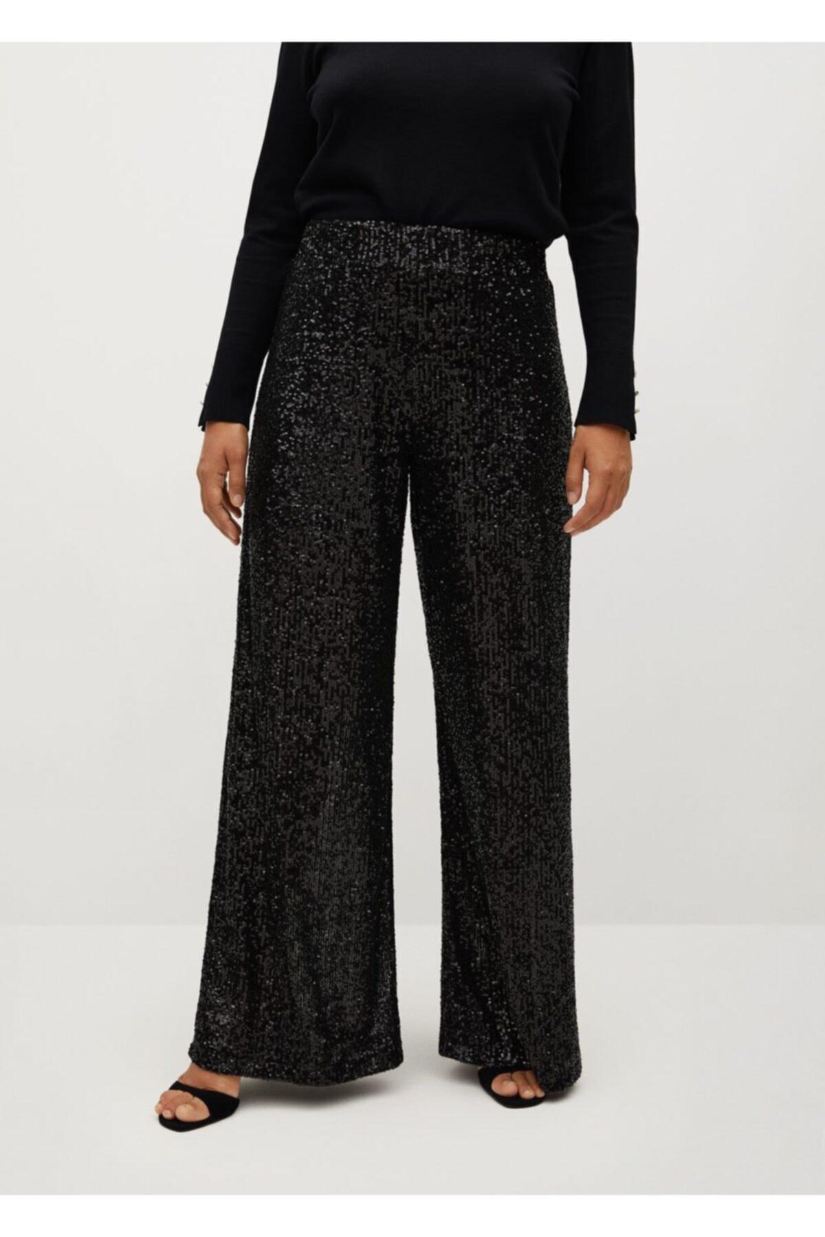 Violeta by MANGO Kadın Siyah Pantolon 77049204 2