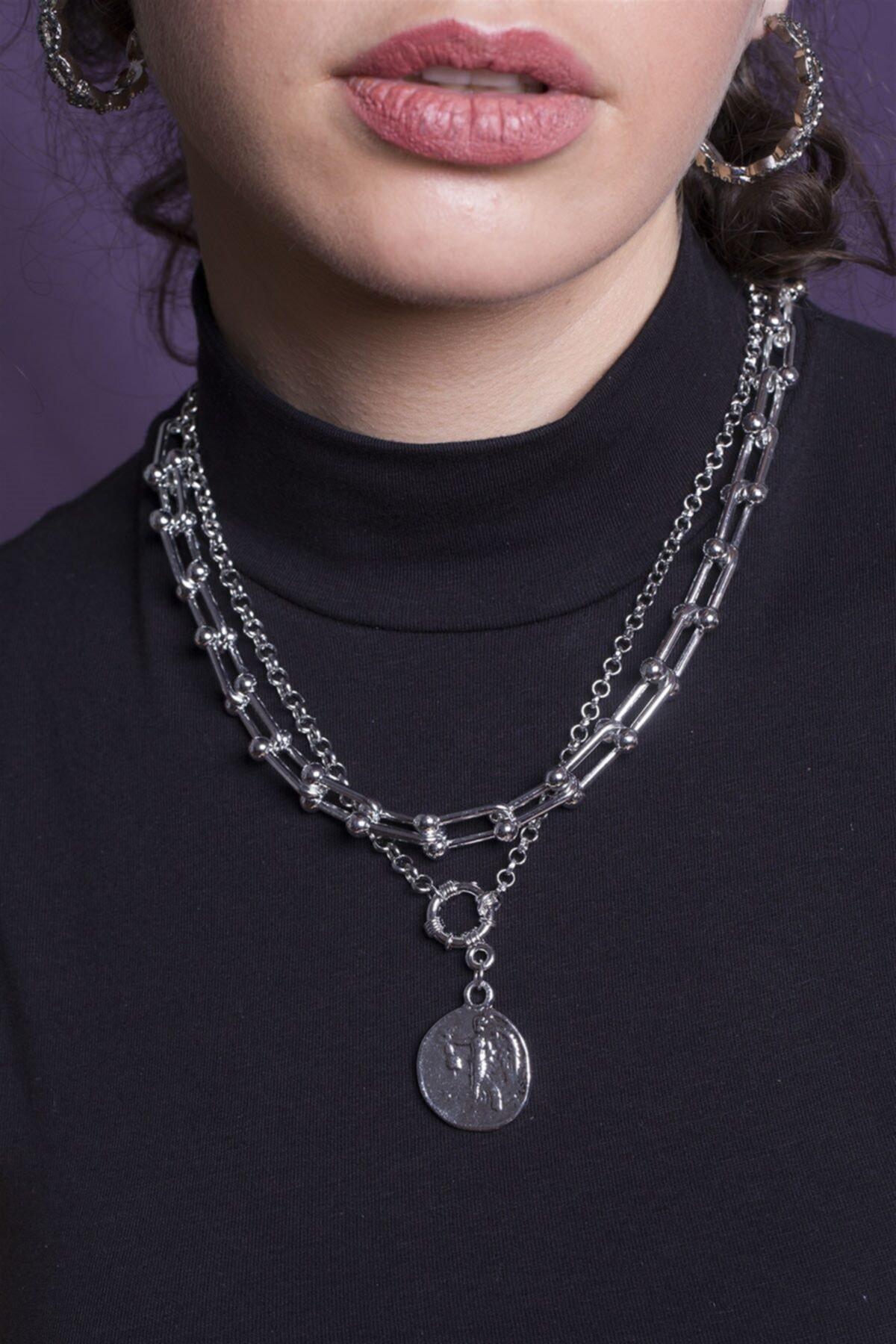 Sortie Aksesuar Kadın Gümüş Rengi Kombin Kolye 059 1
