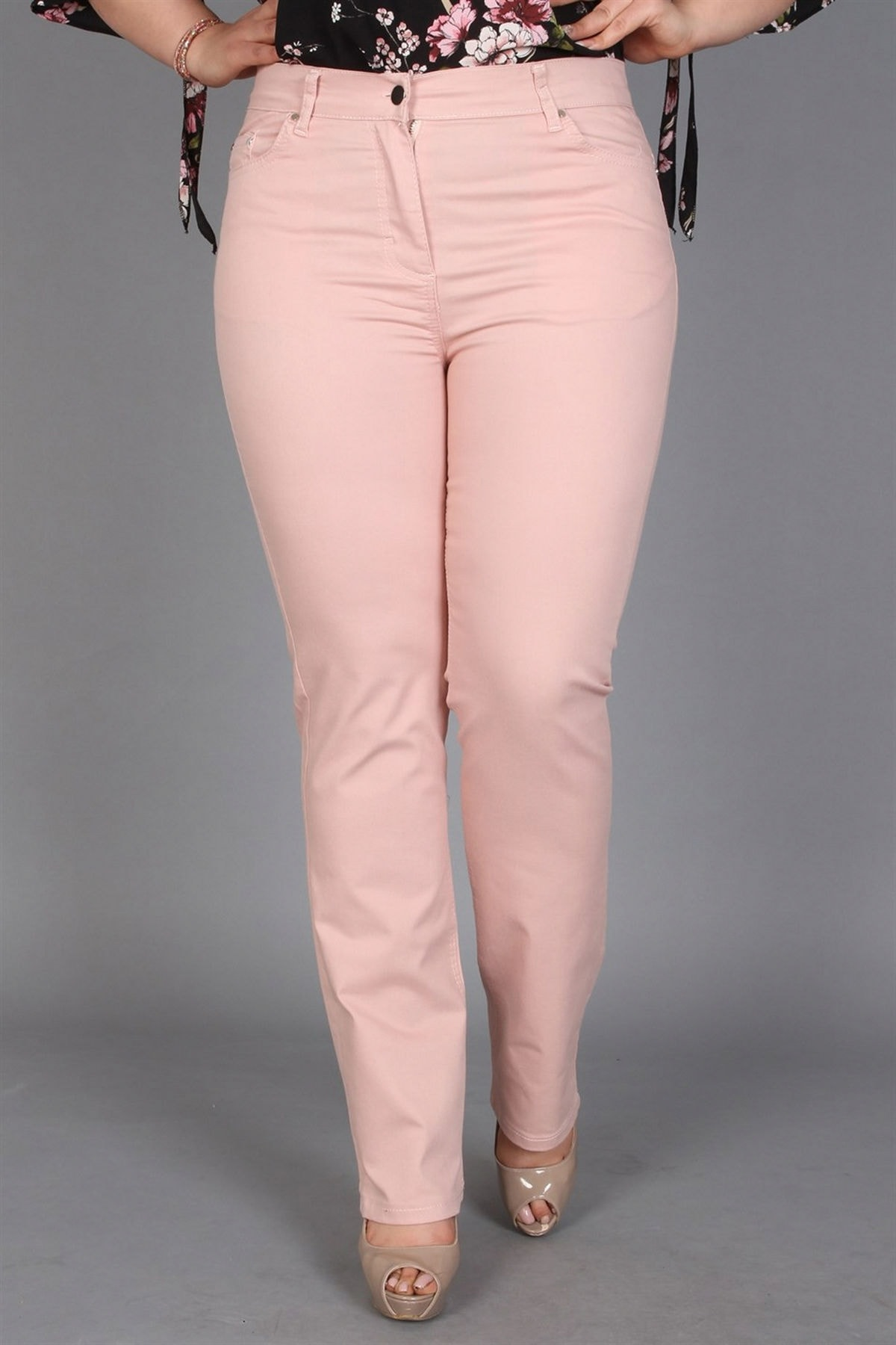 Günay Giyim Kadın Pudra Kanvas Yüksek Bel Düz Paça Pantolon Rg1029p 1