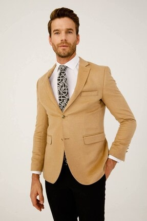 İgs Erkek Bej Slim Fit Mono Yaka Ceket