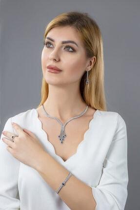 BARIŞ TAKI Kadın 925 Ayar Gümüş Salkım 3 Sıra Damla Su Yolu Düğün Seti