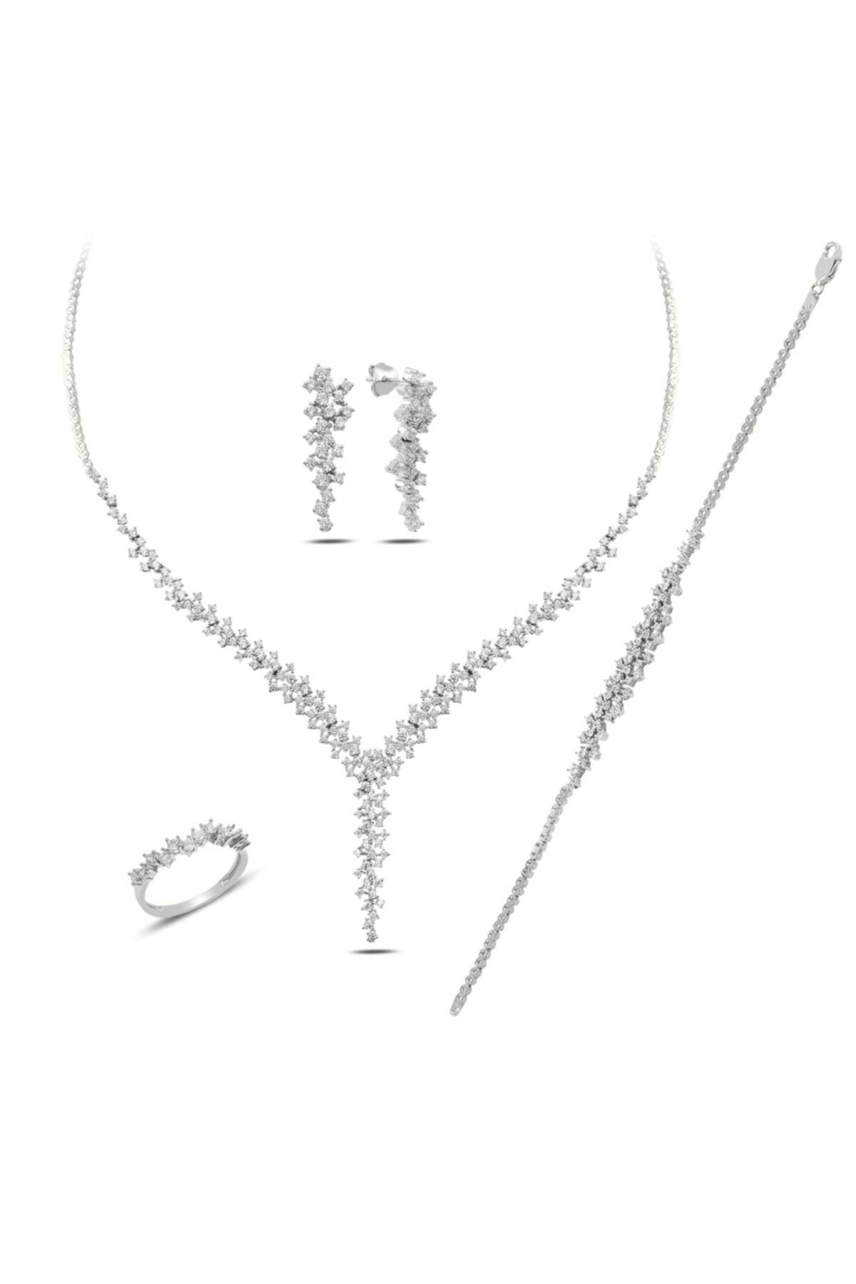 BARIŞ TAKI Kadın 925 Ayar Gümüş Salkım Pırlanta Montür Su Yolu Düğün Seti 2