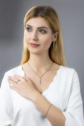 BARIŞ TAKI Kadın 925 Ayar Gümüş 2 Sıra Salkım Su Yolu Düğün Set