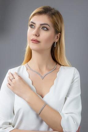 BARIŞ TAKI Kadın 925 Ayar Gümüş 3 Sıra Su Yolu Düğün Set