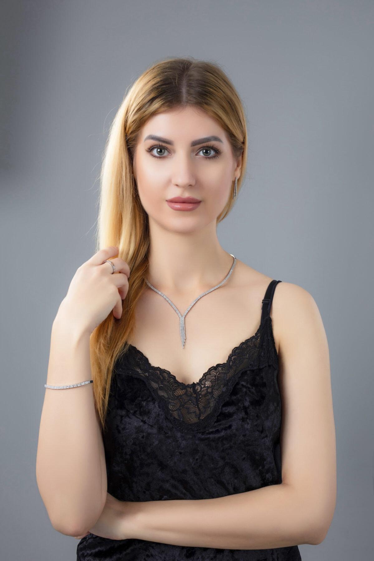 BARIŞ TAKI Kadın 925 Ayar Gümüş Salkım 2 Sıra Su Yolu Düğün Set 1
