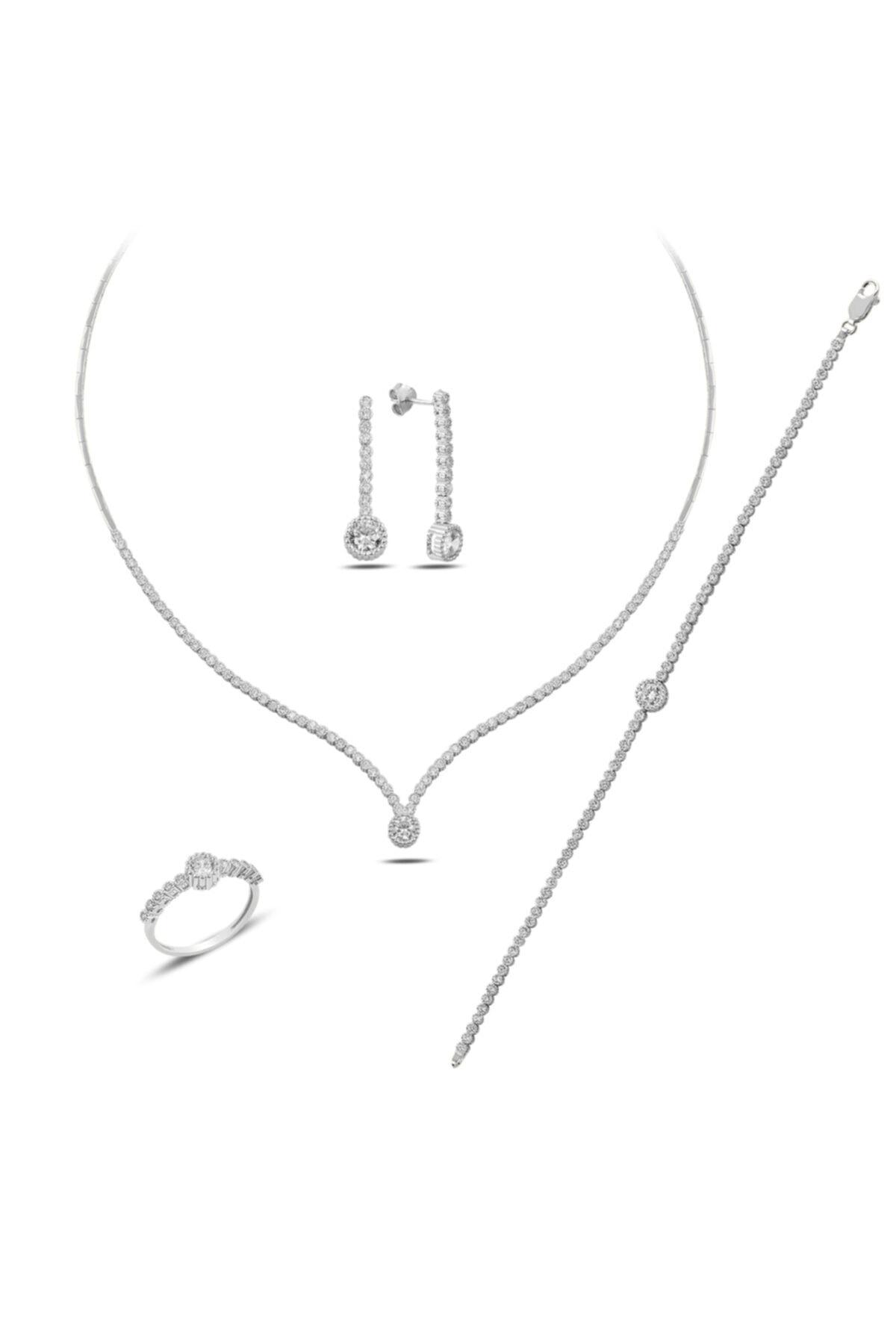 BARIŞ TAKI Kadın 925 Ayar Gümüş Tek Taş Pırlanta Montür Su Yolu Düğün Set 2