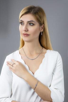 BARIŞ TAKI Kadın 925 Ayar Gümüş Pırlanta Montür Su Yolu Düğün Set