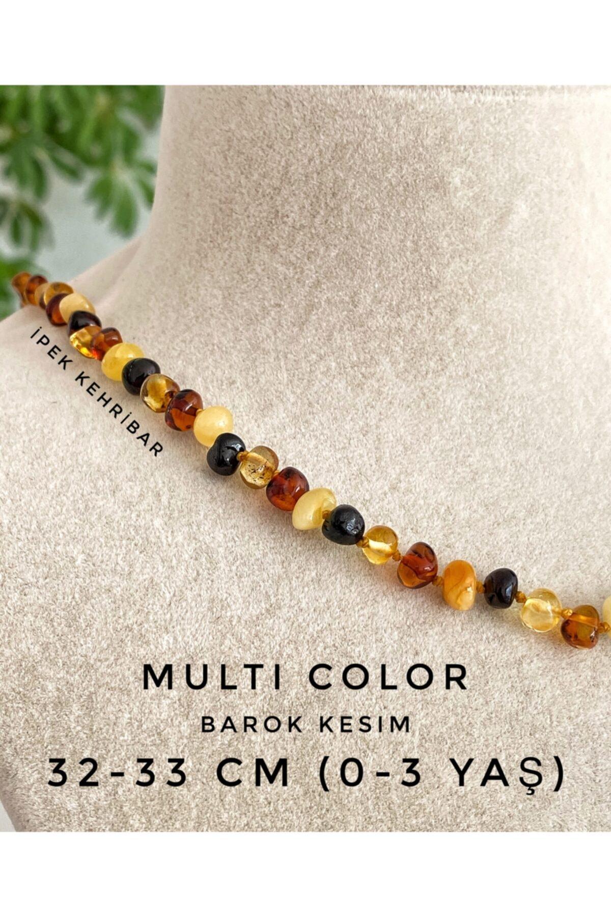 İpek Kehribar Unisex Bebek Kahverengi Diş Barok Kesim Multicolor 4 Renk Baltık Kehribar Kolye 2