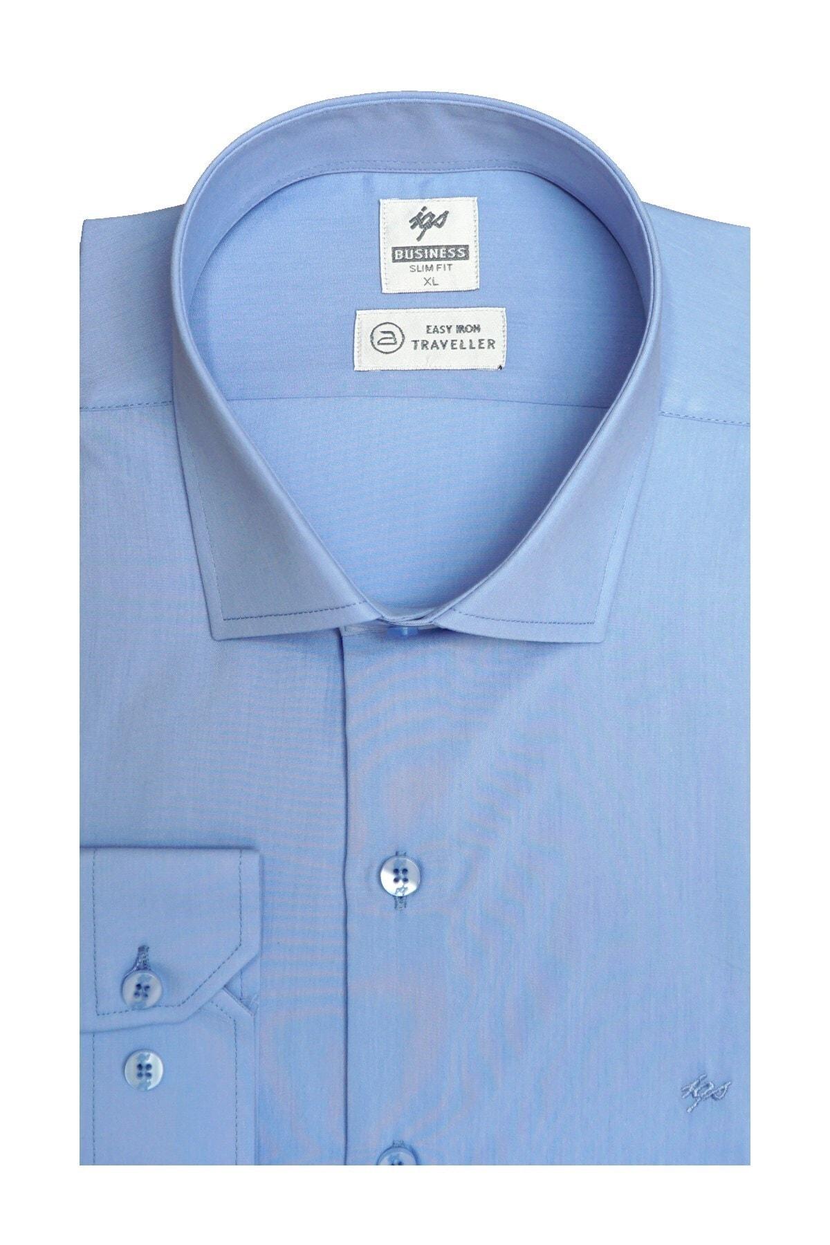 İgs Erkek Mavi Slım Fıt Dar Kalıp Std Gömlek 1